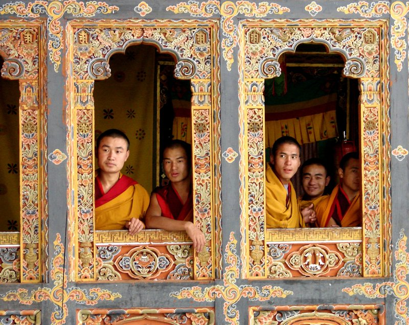 Monks waiting for afternoon prayers, Tango Goemba.