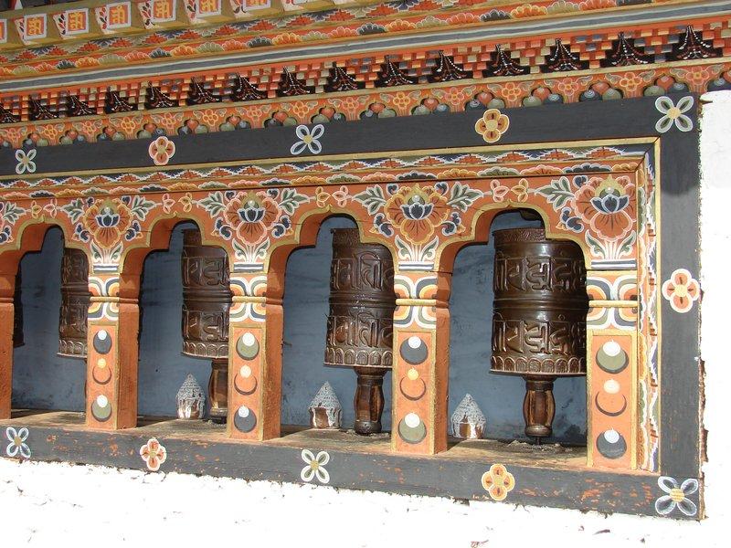Prayer wheels at the temple outside Punakha Dzong