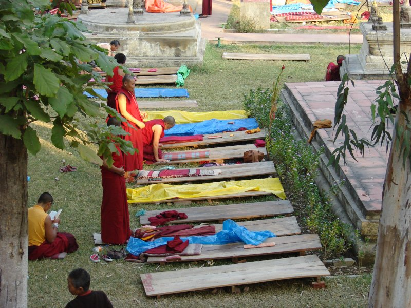 Prostrating towards the Mahabodhi Temple