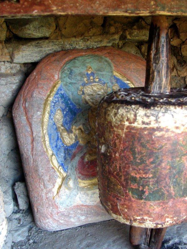 Prayer wheel and slate at Jampel Lhakhang