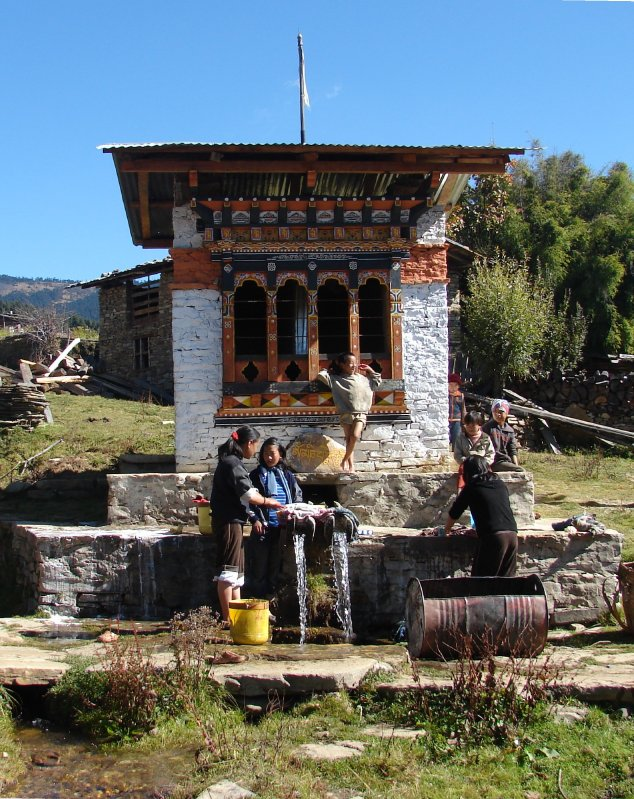 Doing the wash in Shingkhar Village, Bumthang