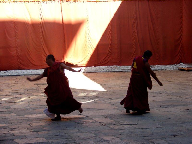 Monks practicing for the Jakar Tsechu