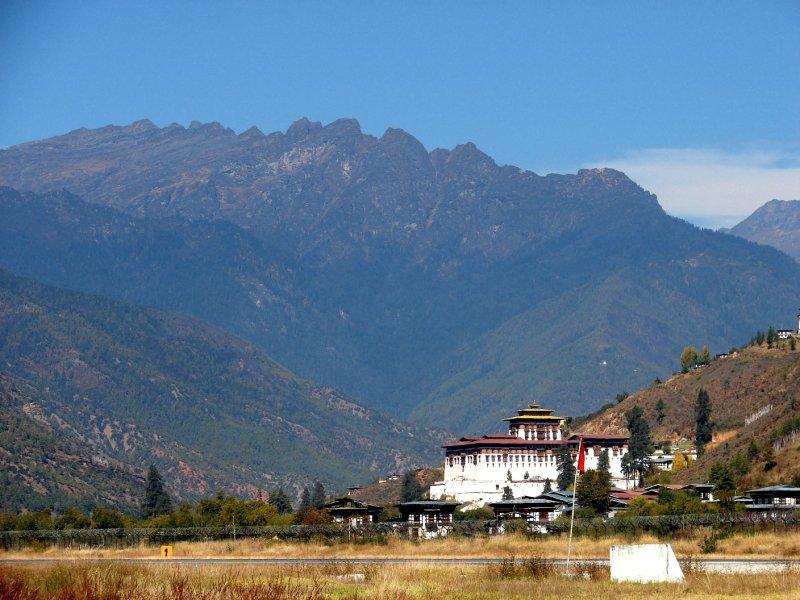 Paro Dzong from the airport tarmack