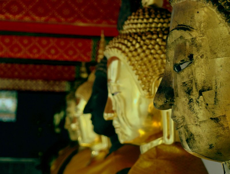 buddha's sculptures at wat pho's courtyard