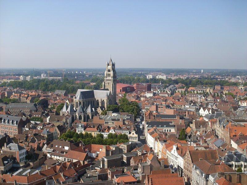 Utsikt fra taarn i Brugge