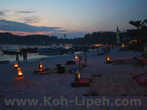 after sunset on Pattaya beach