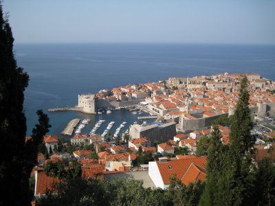 view from the road coming into Dubrovnik