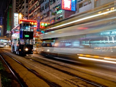 Double-decker tram in Hong Kong traffic