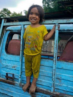 Indonesia girl on truck