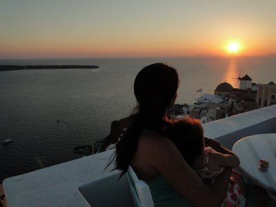 Sunset as seen from the Restaurant in Oia