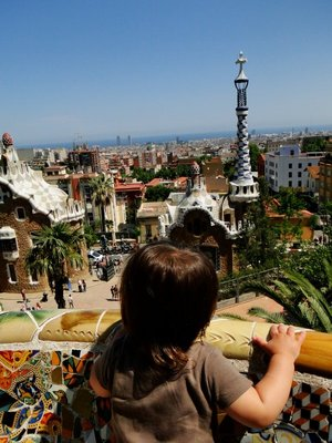 Admiring Gaudi's work at Park Guell