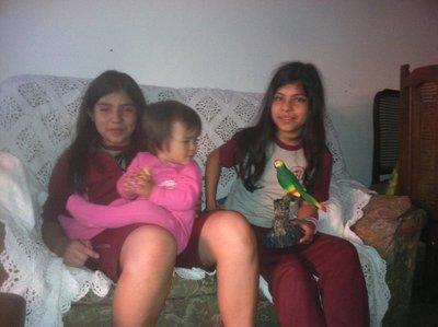 Celia, Ylla and Kiara playing in the apartment