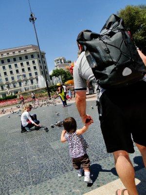 Walking in Plaza Catalunya