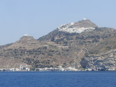 Leaving Milos, View of Plaka and the fishing village