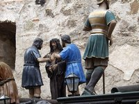 Jesus is prepared for flogging