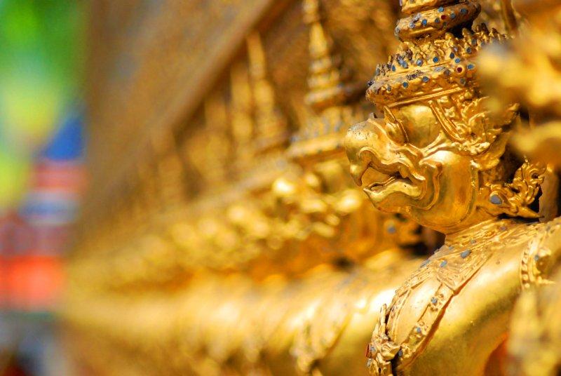 Golden statues at the Grand Palace - Bangkok - Thailand