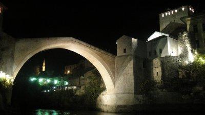 Stari Most at night, Mostar, Bosnia and Herzegovina