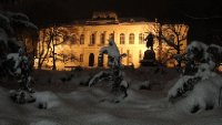 National Museum of Slovenia at night, Ljubljana, Slovenia
