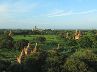Visiting Bagan's temples on bike.