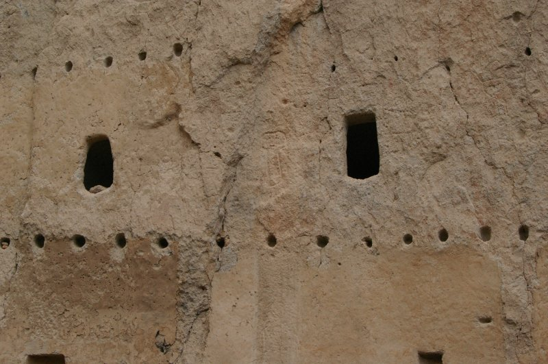 Bandelier cliff dwellings, actual houses built up into the cliff