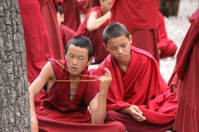 contemplating monks
