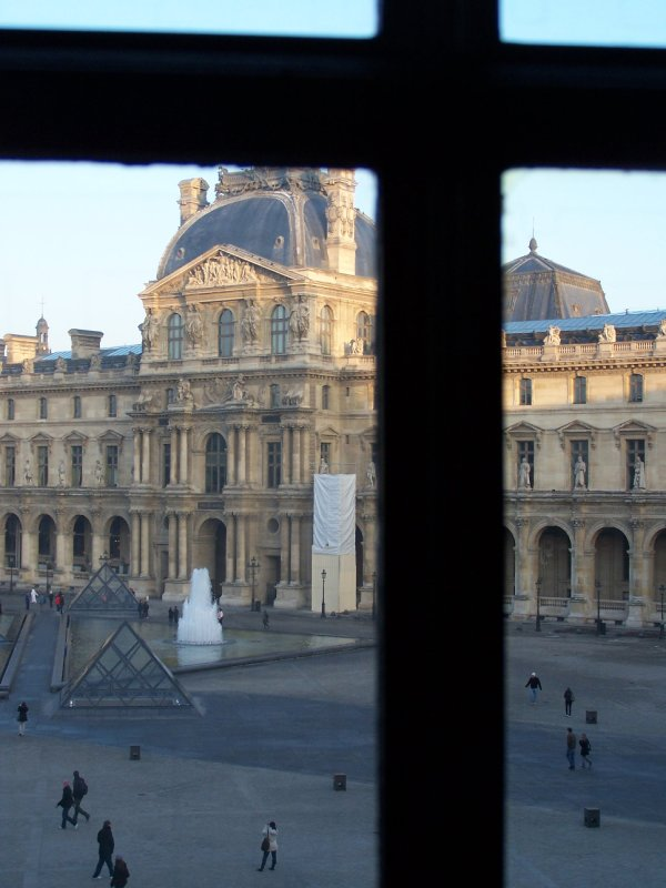 Looking into the Courtyard of the Louvre