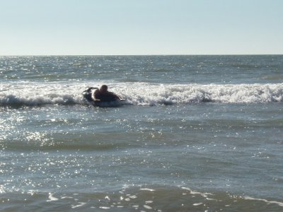Bodyboarding on the inflatable ring
