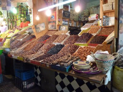 Dried fruit stall in Meknes