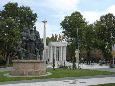 Skopje high density of statues