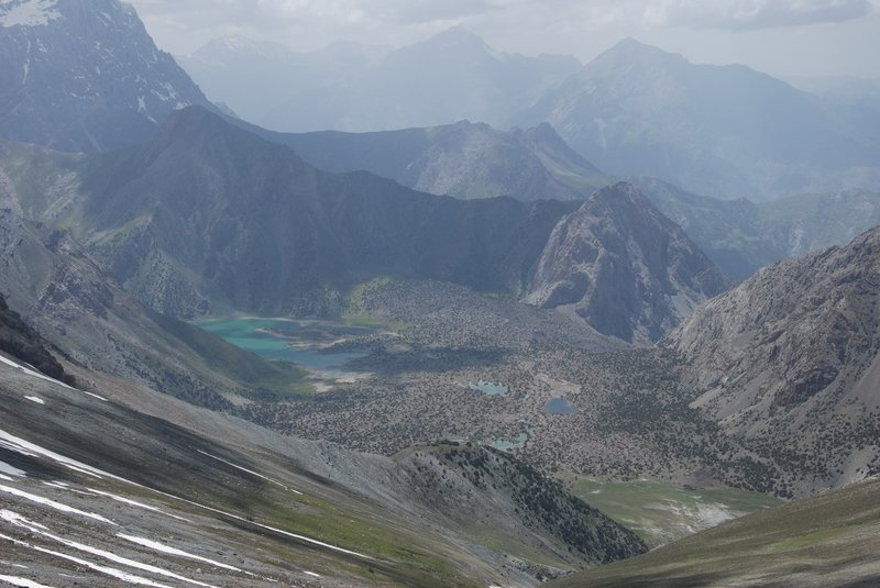 Once we had concurred the scree towards the Jonat pass (3860) we had a great view towards the lakes where we would camp