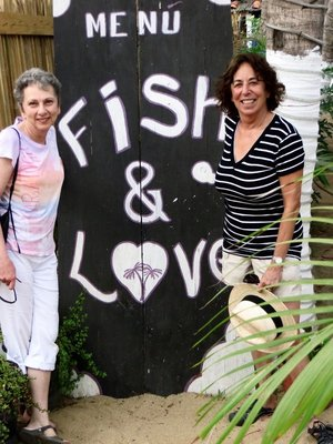 Nanette and Debbie in front of our favorite restaurant