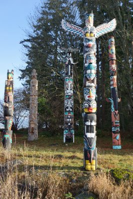 The totem poles of Stanley Park.