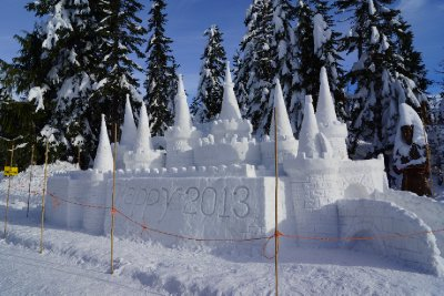Happy New Year Ice Castle at Grouse Mountain.