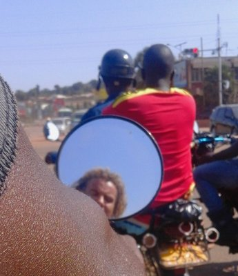 On my boda in Kampala