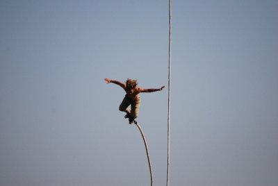 David jumps....