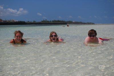 Beach bums in low tide