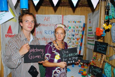 Matt and Em enthusiastically promote the stand