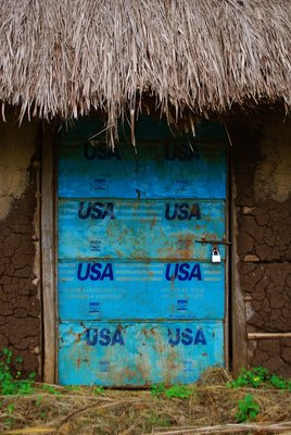 Doors were made of old USA donated tin cans