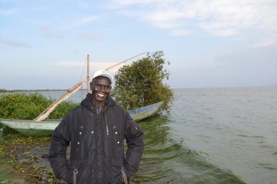 Sam at his fishing village, Lake Victoria