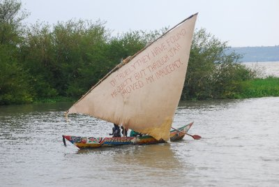 Interesting message on dhow on Lake Victoria: '<em>oh truly they have found me quilty but through Jah proved my innocency'</em>