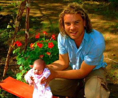 In the garden with dad