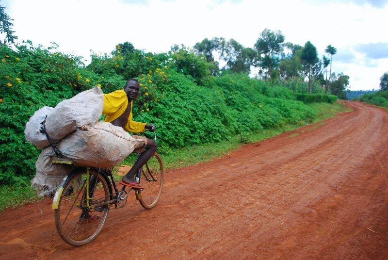Man taking his load of scrap metal to market