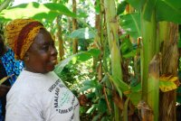 Roda in her farm showing off her plants