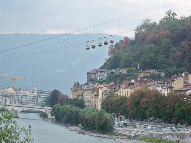 "The ""telepherique"", cable car that Alix & I took up the mountain"