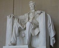 THe big guy on his seat Abraham Lincoln