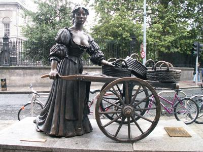 "Molly Malone sculpture is called…""The Tart with the Cart"", ""The Dolly with the Trolly"", ""The Trollop with the Scallop"", ""The Dish with the Fish"" or ""The Flirt in the Skirt""."