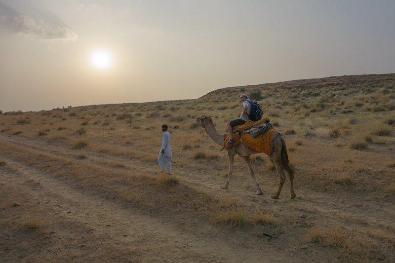 Riding camels at sunset Jaisalmer