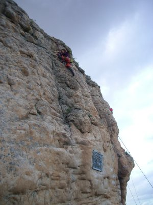 Sara climbing