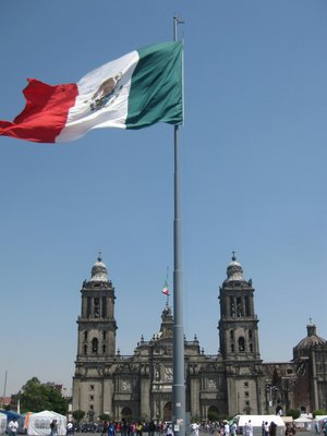 Cathedral and Mexican flag