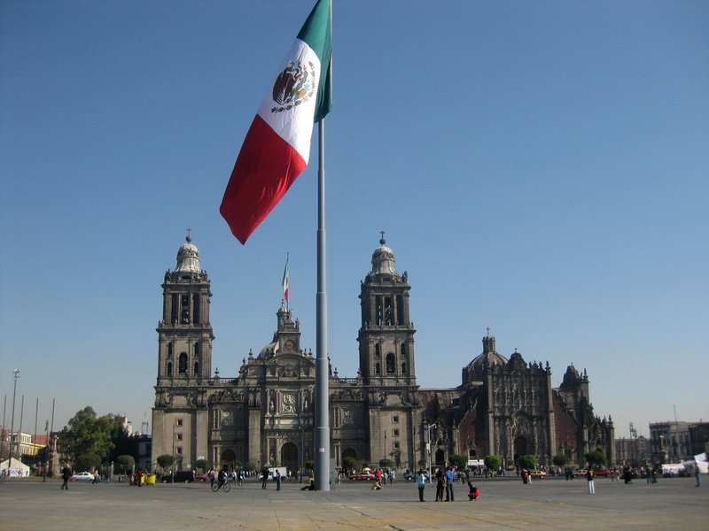 The Zócalo with the huge Mexican flag